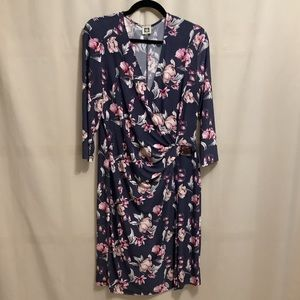 Anne Klein floral faux wrap dress with buckle